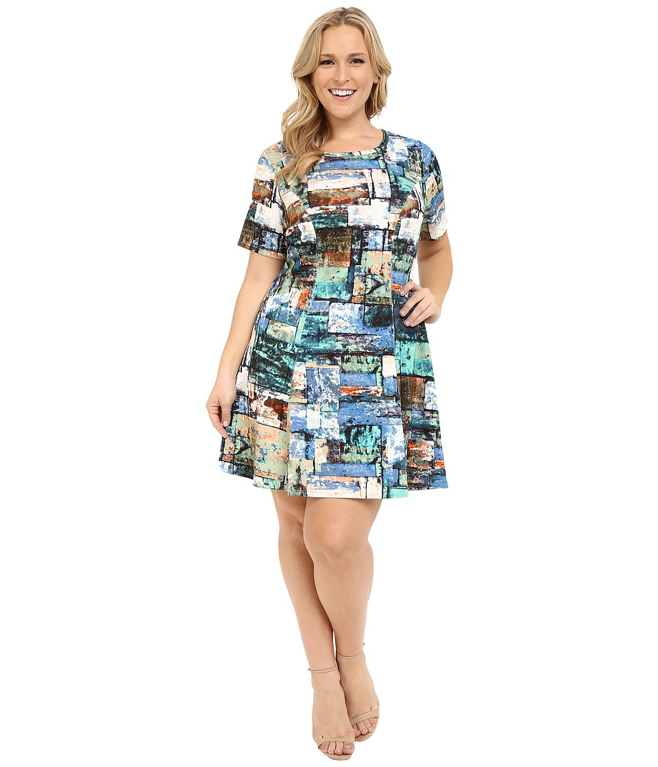 Karen Kane Plus Plus Size Collage Print Scuba Dress Marine Blue Womens Dress