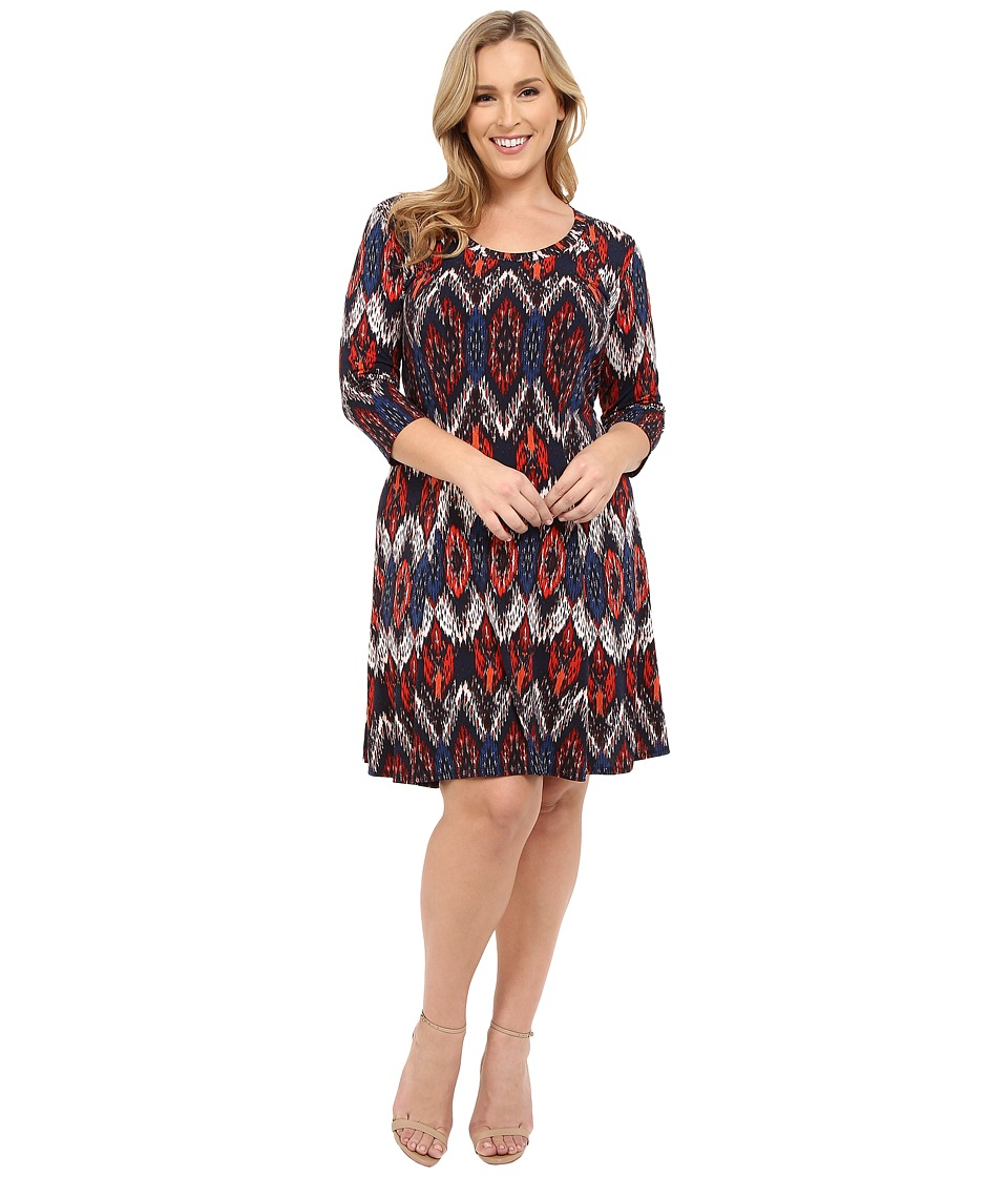 Karen Kane Plus Plus Size Pacific Ikat 3/4 Sleeve A Line Dress Print Womens Dress