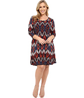 Karen Kane Plus - Plus Size Pacific Ikat 3/4 Sleeve A-Line Dress