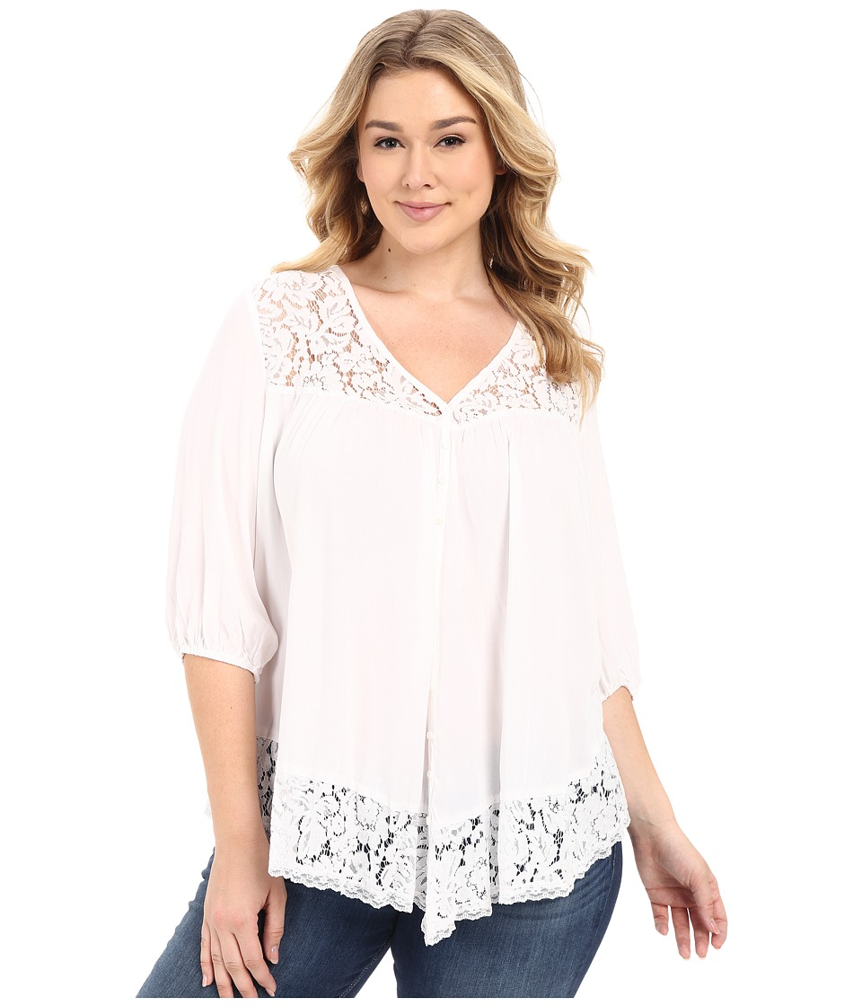 Karen Kane Plus Plus Size Lace Inset Top Off White Womens Clothing