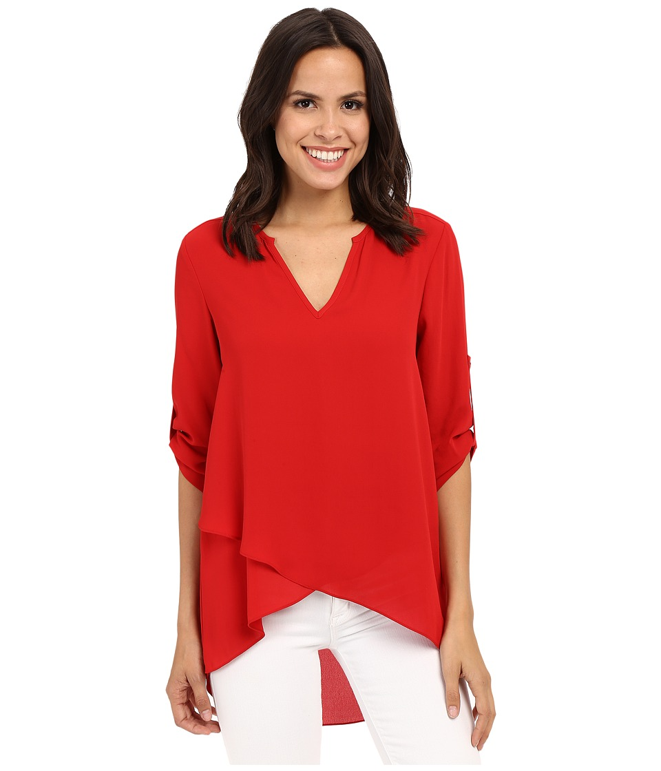 Karen Kane Asymmetrical Hem Wrap Top Fire Womens Clothing