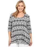 Karen Kane Plus - Plus Size Print 3/4 Sleeve Handkerchief Top
