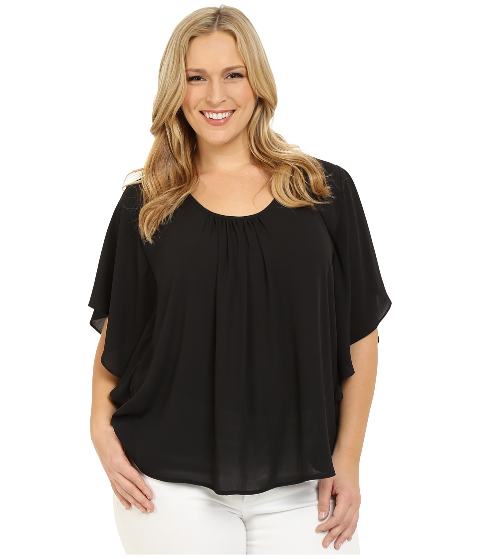 Karen Kane Plus Plus Size Angel Top Black Womens Long Sleeve Pullover