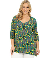 Karen Kane Plus - Plus Size Iris Print Ruched Sleeve Top