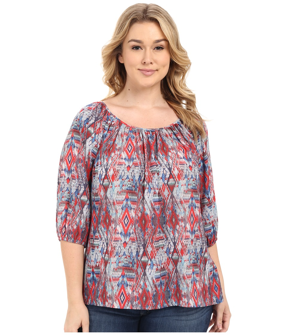 Karen Kane Plus Plus Size 3/4 Sleeve Hi Lo Peasant Top Print Womens Clothing