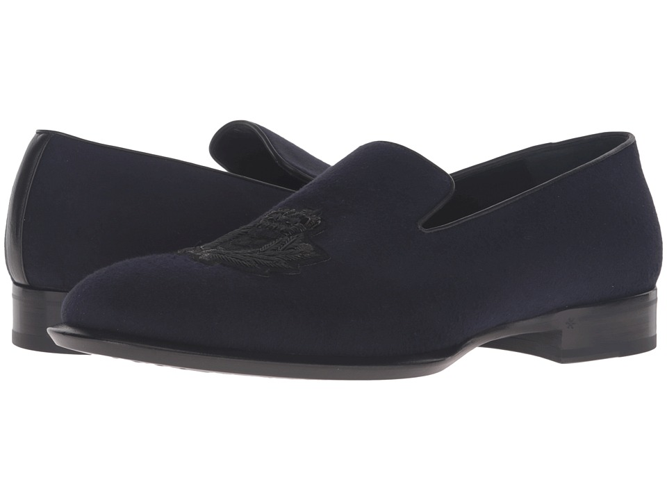 Alexander McQueen Gable Embroidered Badge Loafer (Navy) Men