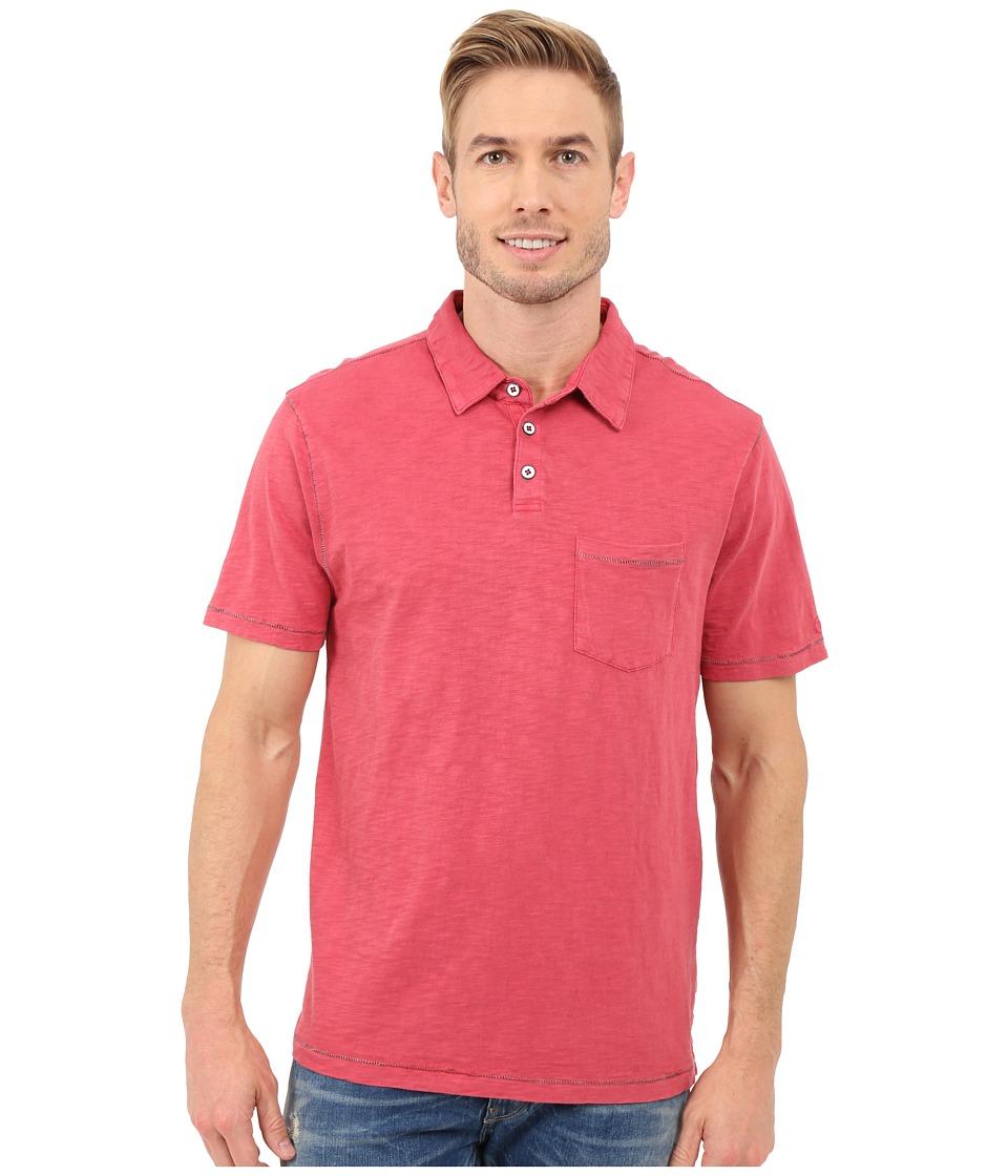 True Grit Heritage Slub Short Sleeve One Pocket Polo w/ Saddle Stitch Detail Vintage Red Mens Clothing