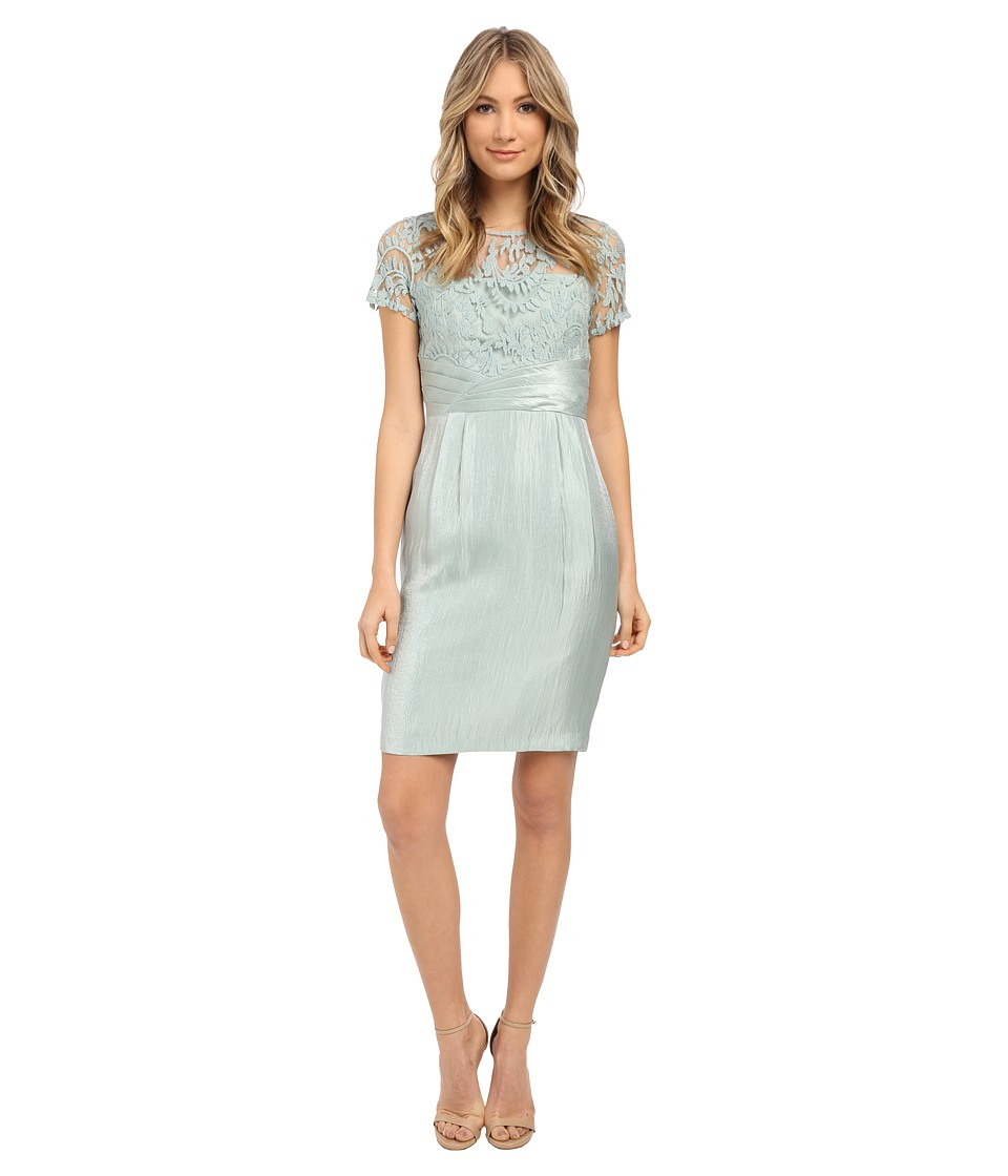 Adrianna Papell Pleated Origami Bow Waist Sheath Dress Icy Mint Womens Dress