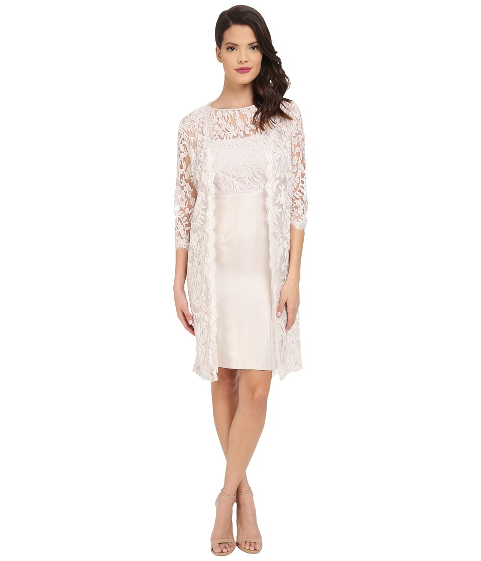 Adrianna Papell Bow Detail Lace Top Sheath with Long Jacket Powder Womens Dress