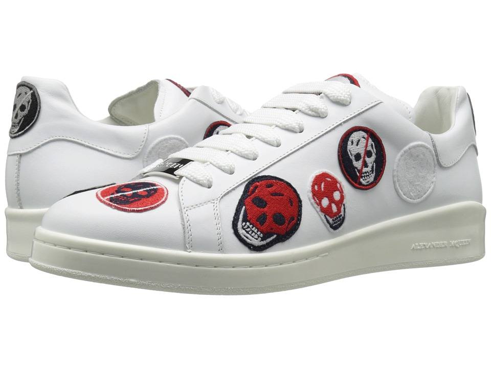 Alexander McQueen Lace-Up Embroidered Badge Sneaker (White) Men