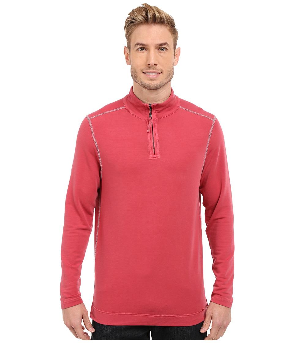 True Grit Lightweight Tencel 1/2 Zip Pullover Vintage Red Mens Long Sleeve Pullover