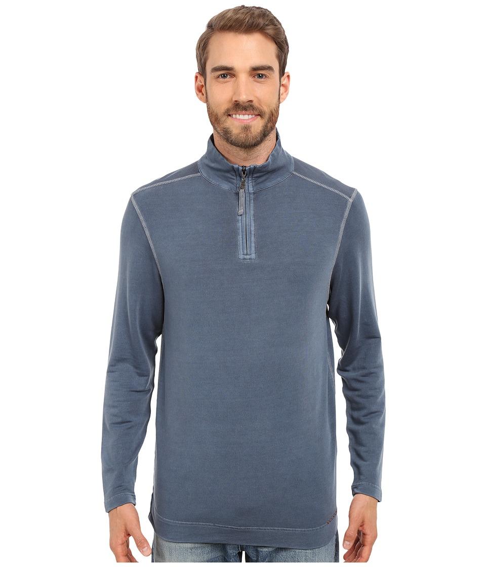 True Grit Lightweight Tencel 1/2 Zip Pullover Vintage Indigo Mens Long Sleeve Pullover