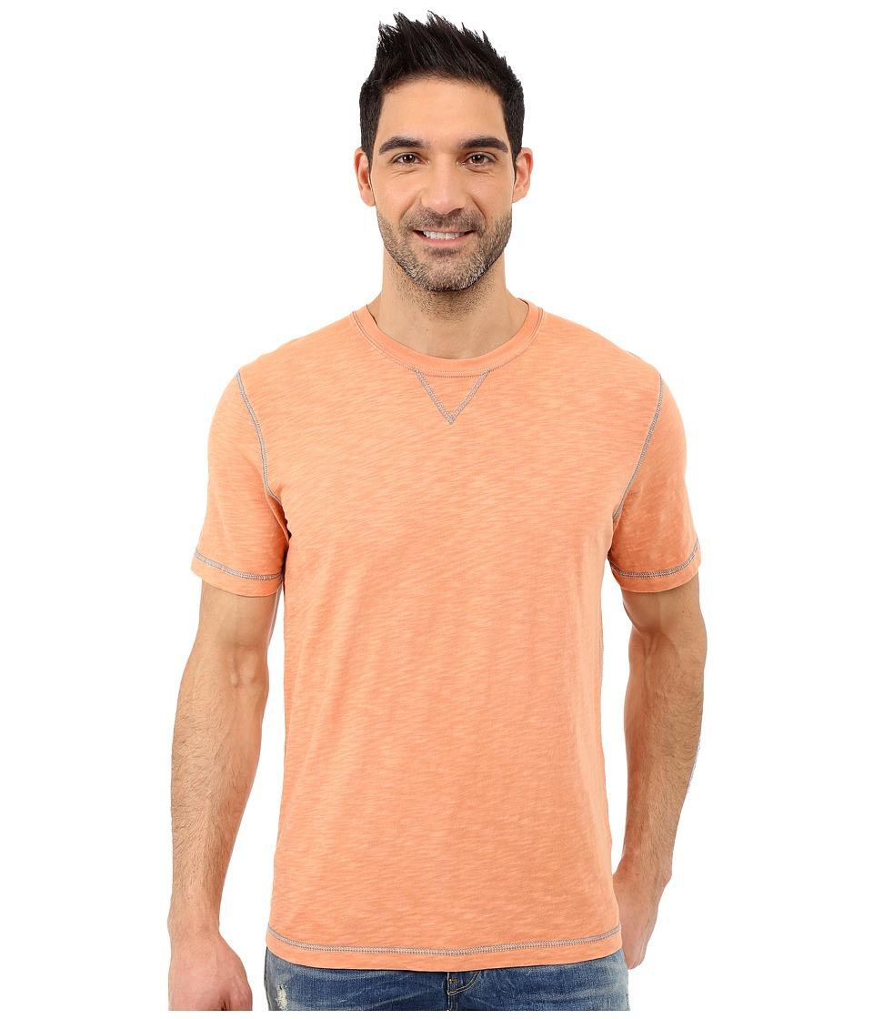 True Grit Soft Slub Short Sleeve Classic Crew Tee w/ Contrast Coverstitch Papaya Mens Short Sleeve Pullover