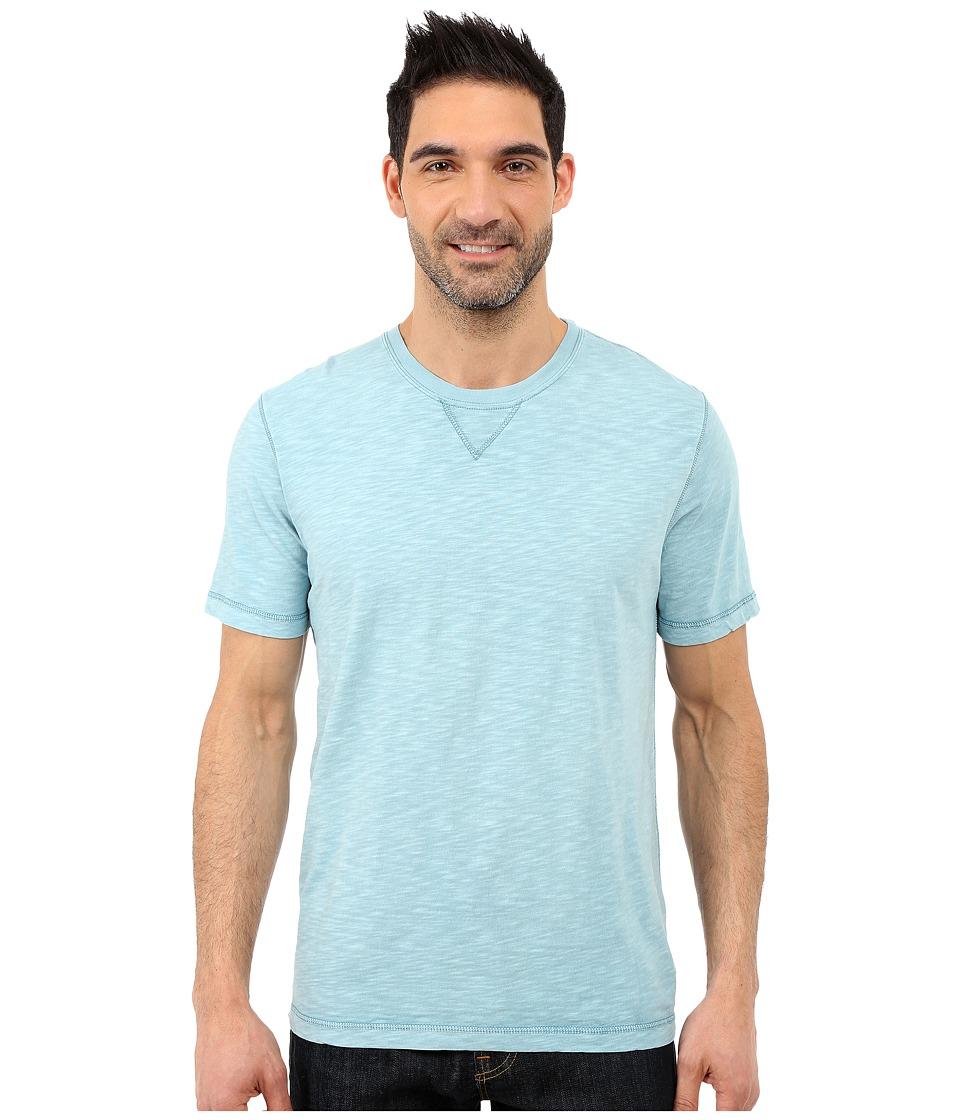 True Grit Soft Slub Short Sleeve Classic Crew Tee w/ Contrast Coverstitch Soft Blue Mens Short Sleeve Pullover