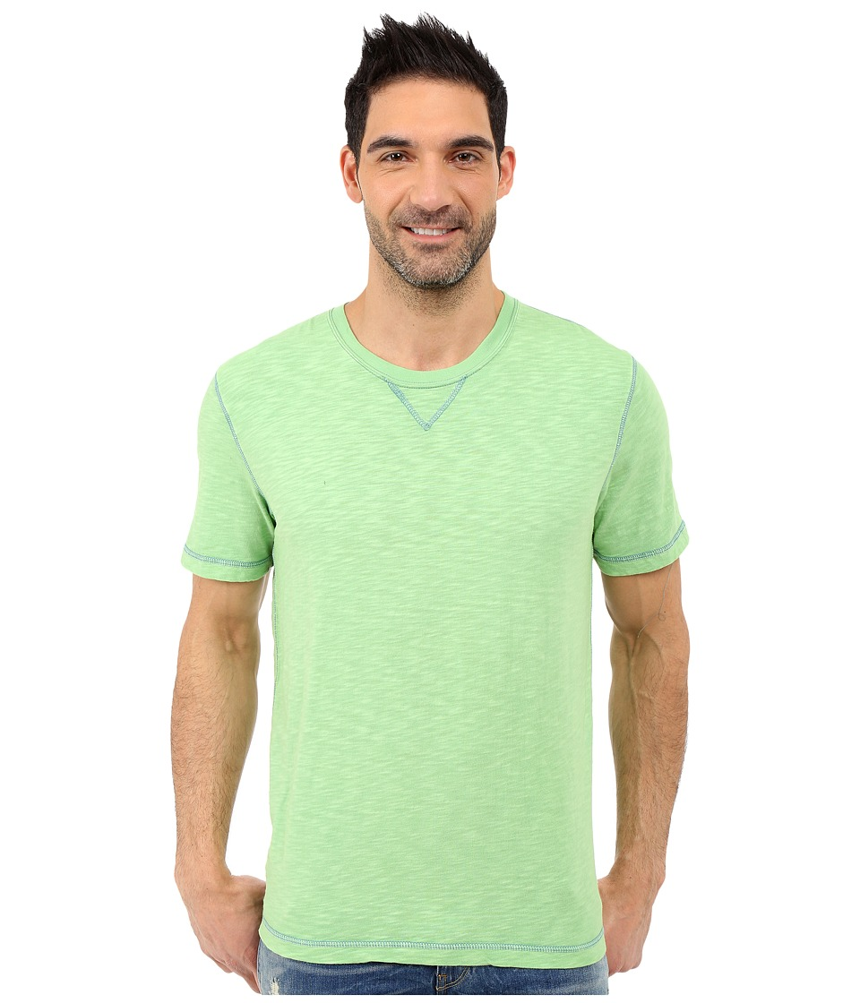 True Grit Soft Slub Short Sleeve Classic Crew Tee w/ Contrast Coverstitch Limelight Mens Short Sleeve Pullover