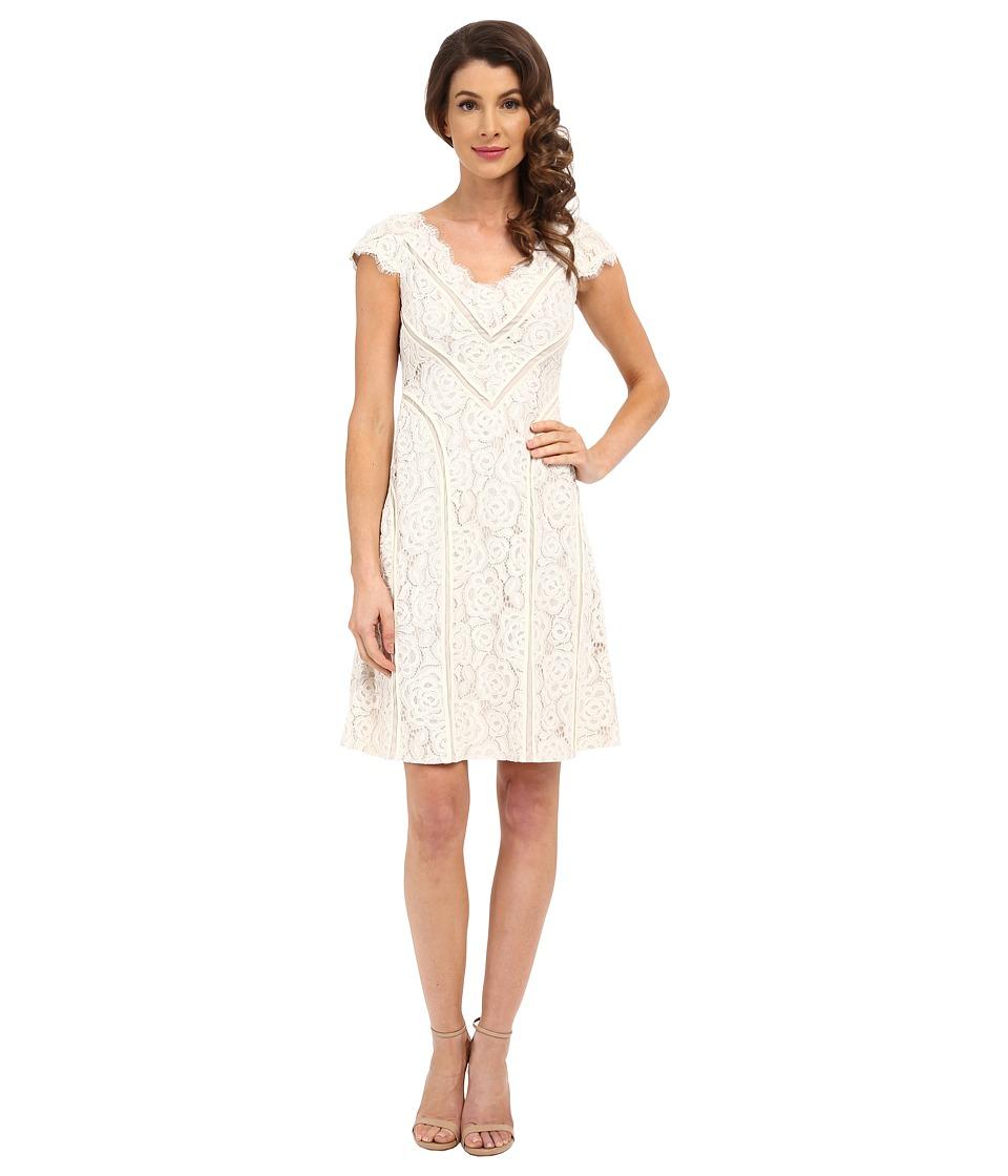 Adrianna Papell Sweetheart V Neckline Stripped Dress Cream/Bisque Womens Dress