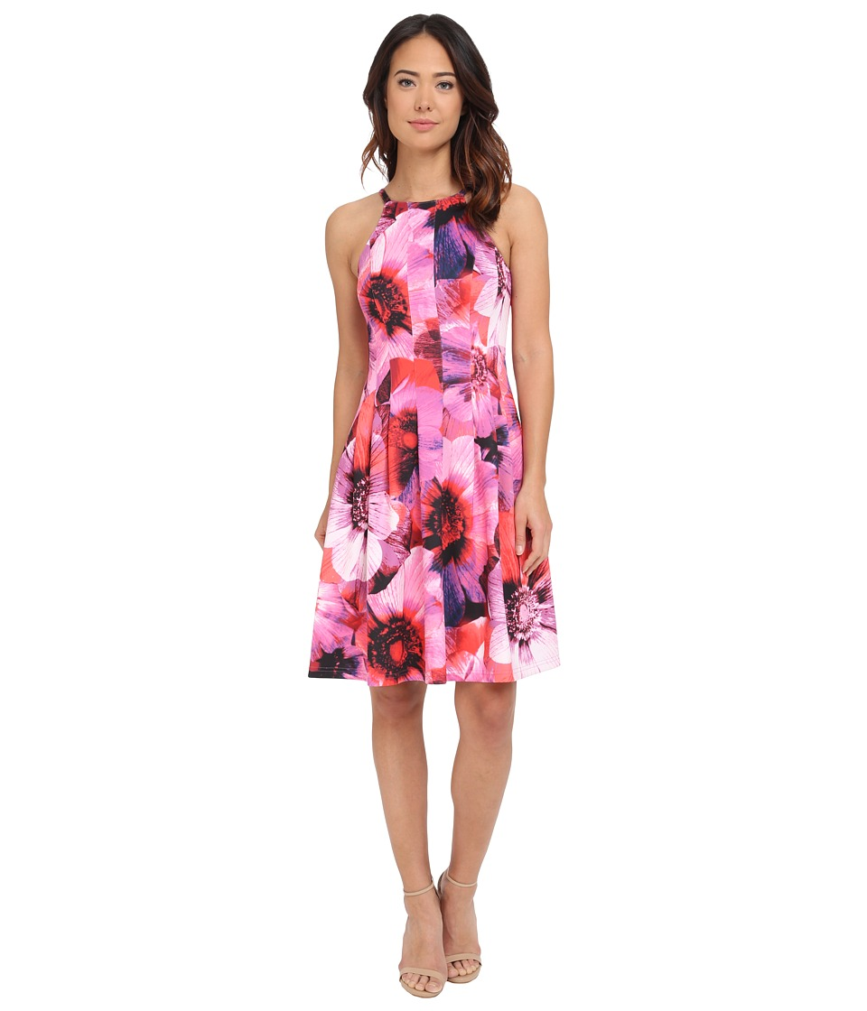 Adrianna Papell Cutaway Neckline Printed Scuba Fit and Flare Pink Multi Womens Dress