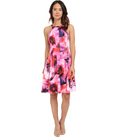 Adrianna Papell - Cutaway Neckline Printed Scuba Fit and Flare