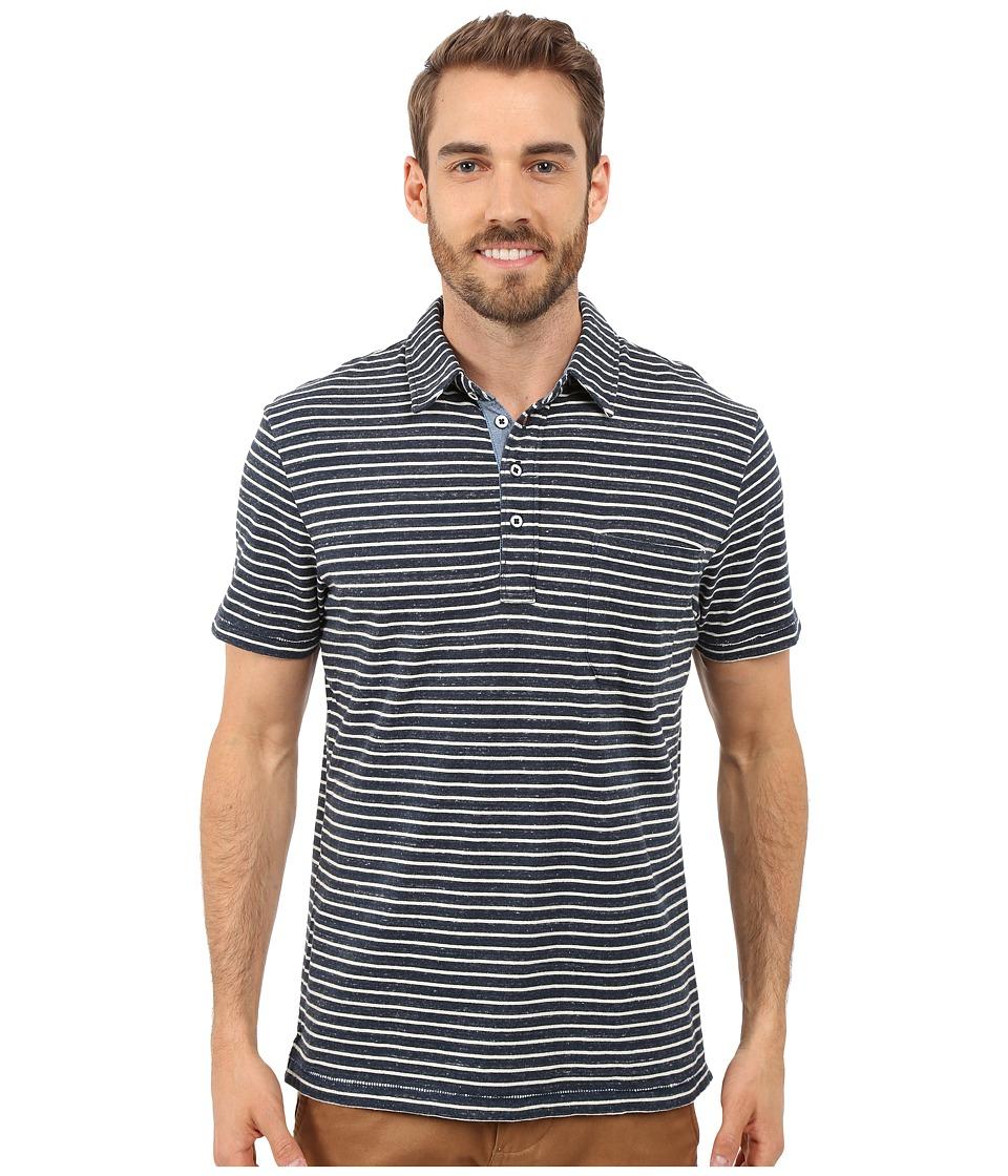 True Grit Short Sleeve Stripe Polo w/ Pocket Genuine Indigo Knit Denim Mens Short Sleeve Knit