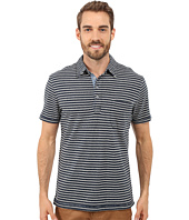 True Grit - Short Sleeve Stripe Polo w/ Pocket Genuine Indigo Knit
