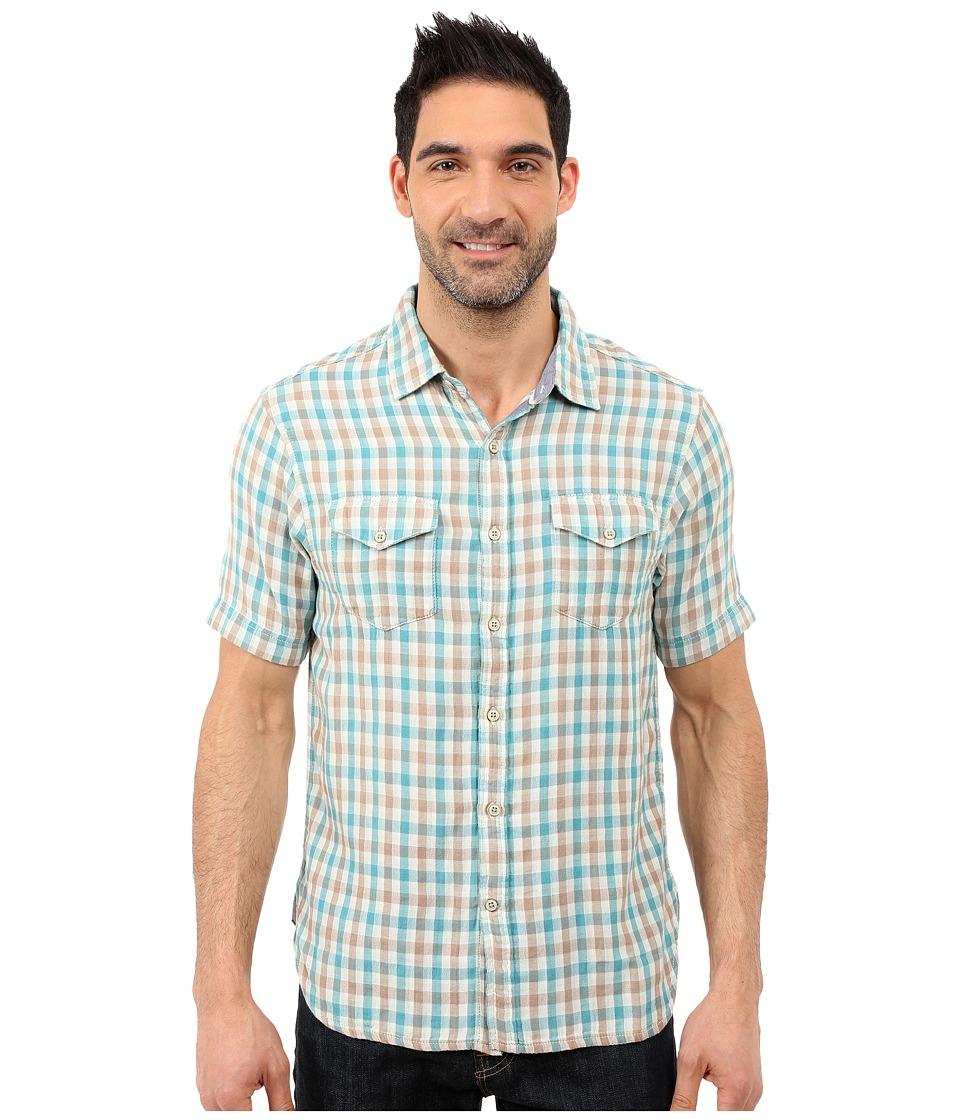 True Grit Beach Checks Short Sleeve Shirt Two Pocket Combed Cotton Double Light Aqua/Grey Mens Short Sleeve Button Up