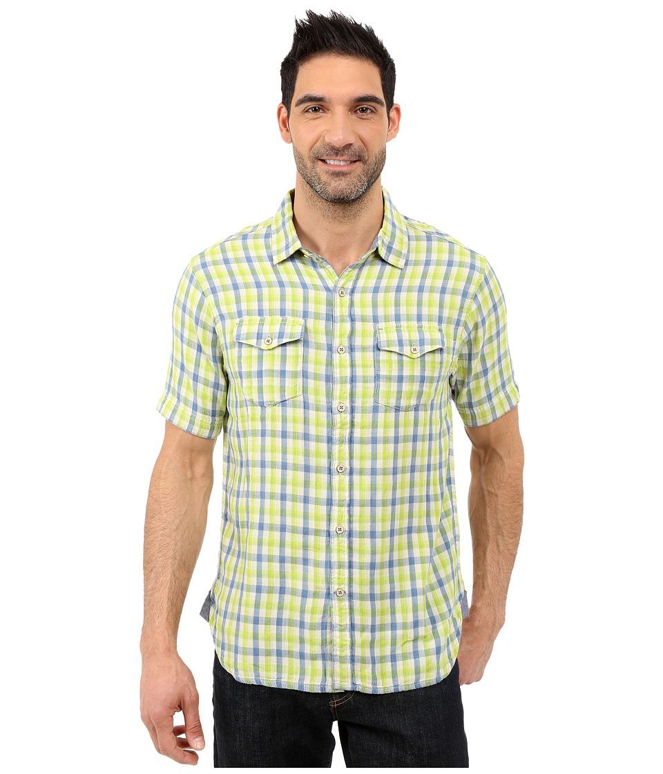 True Grit Beach Checks Short Sleeve Shirt Two Pocket Combed Cotton Double Light Blue/Green Mens Short Sleeve Button Up