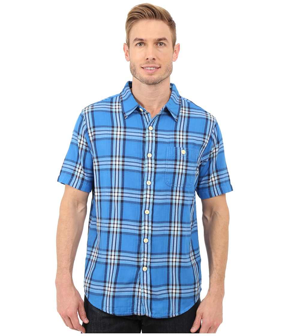 True Grit Indigo Surf Plaids Short Sleeve One Pocket Shirt w/ Contrast Chambray Blue Mens Clothing