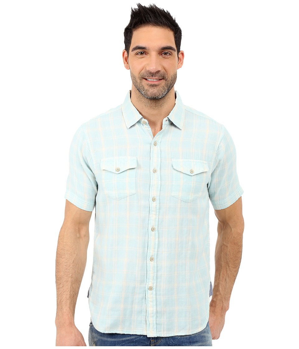 True Grit Mojito Short Sleeve Plaid Shirt w/ Contrast Chambray Sky Mens Short Sleeve Button Up