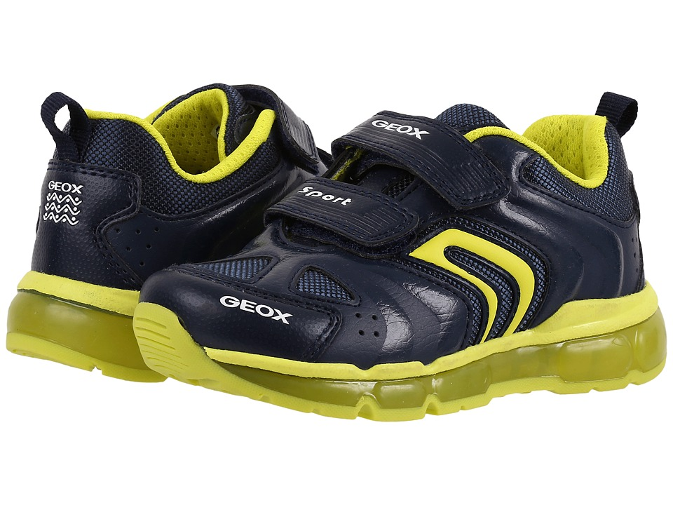 Geox Kids - Jr Android Boy 9 (Toddler\/Little Kid) (Navy\/Lime) Boy's Shoes