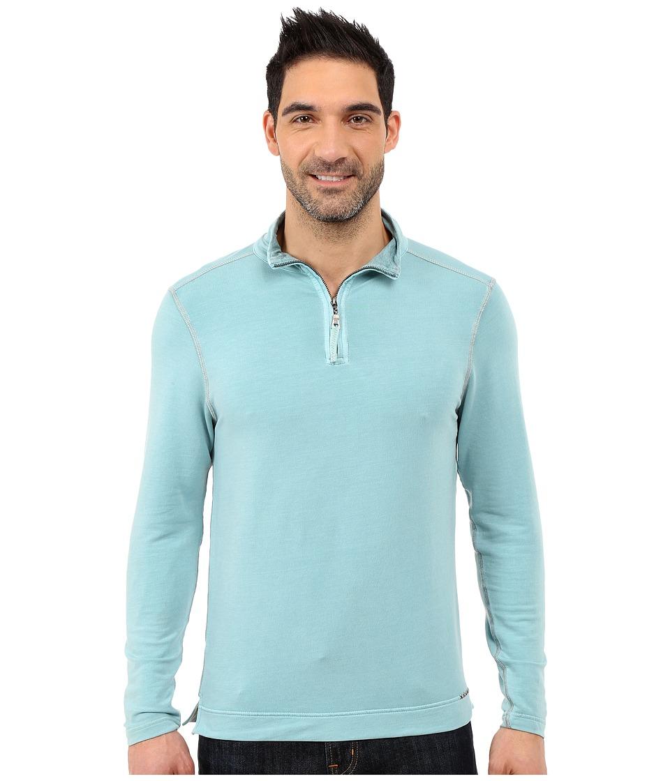 True Grit Lightweight Tencel 1/2 Zip Pullover Soft Blue Mens Long Sleeve Pullover
