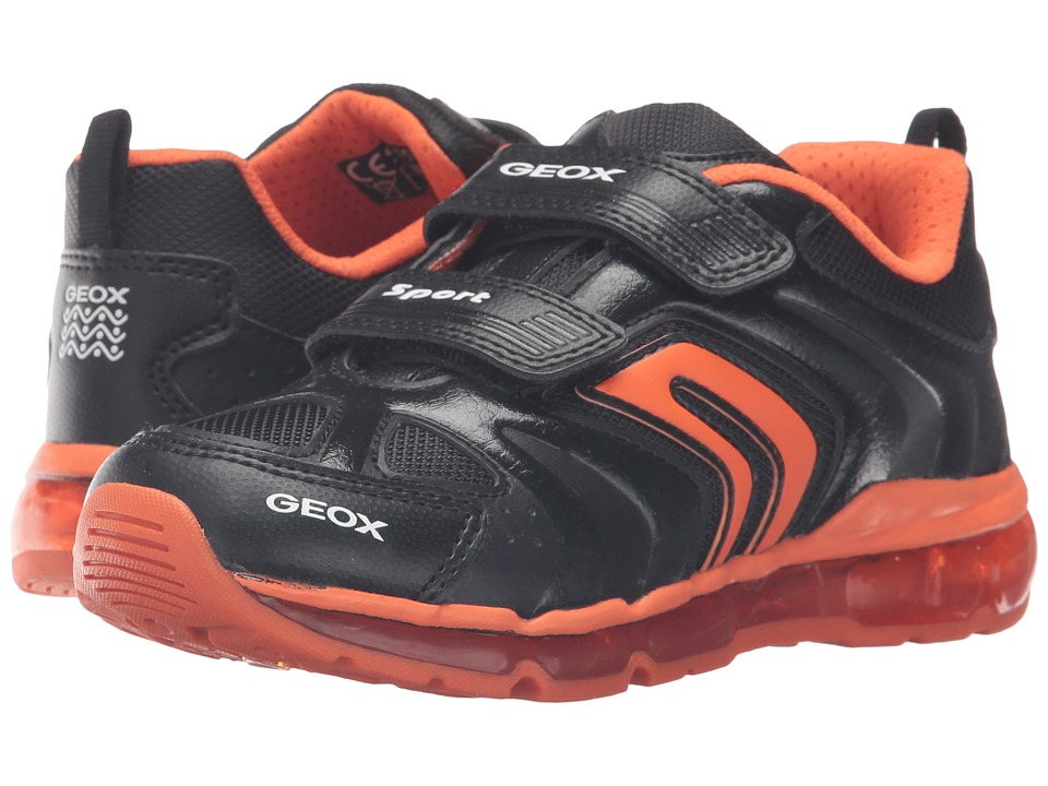 Geox Kids - Jr Android Boy 9 (Little Kid\/Big Kid) (Black\/Orange) Boy's Shoes