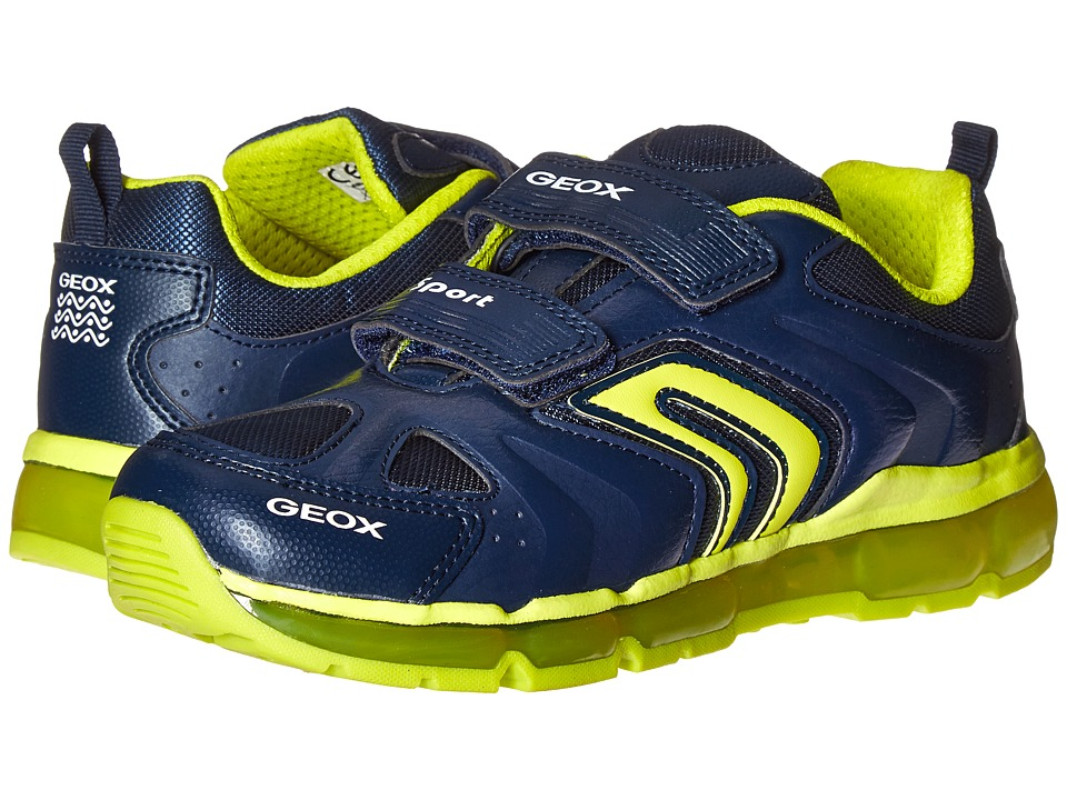 Geox Kids - Jr Android Boy 9 (Little Kid\/Big Kid) (Navy\/Lime) Boy's Shoes