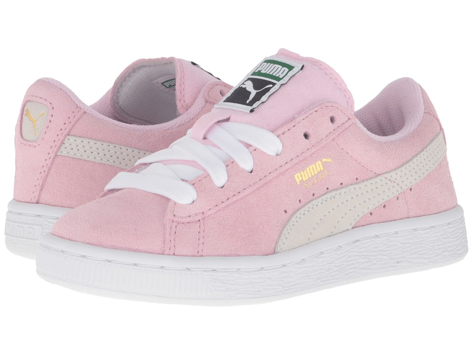 Puma Kids - Suede PS (Little Kid/Big Kid) (Pink Lady/Puma White/Puma Team Gold) Girls Shoes