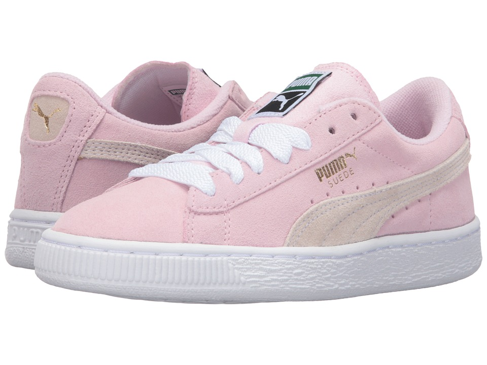 Puma Kids - Suede Jr (Big Kid) (Pink Lady/White/Team Gold) Girls Shoes