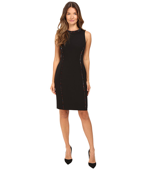 Versace Collection Crew Neck Sleeveless Sheath with Color Studs