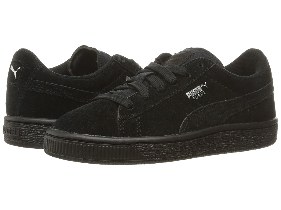 Puma Kids Suede PS (Little Kid/Big Kid) (Puma Black/Puma Silver) Kids Shoes
