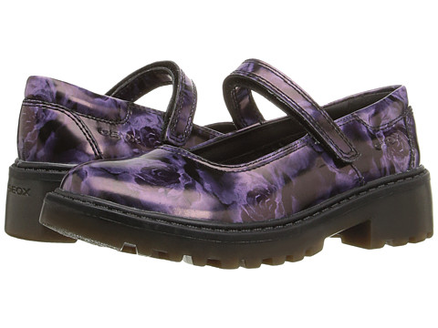 Geox Kids Jr Casey Girl 9 (Little Kid) - Black/Lilac