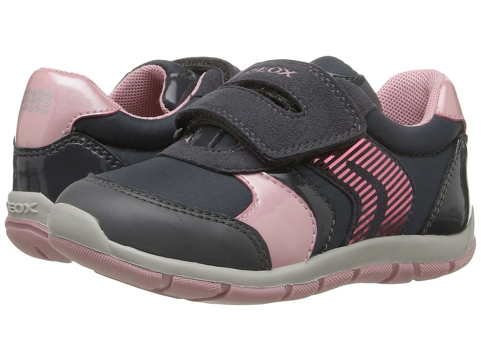 Geox Kids Baby Shaax Girl 13 (Toddler) (Dark Grey/Pink) Girl