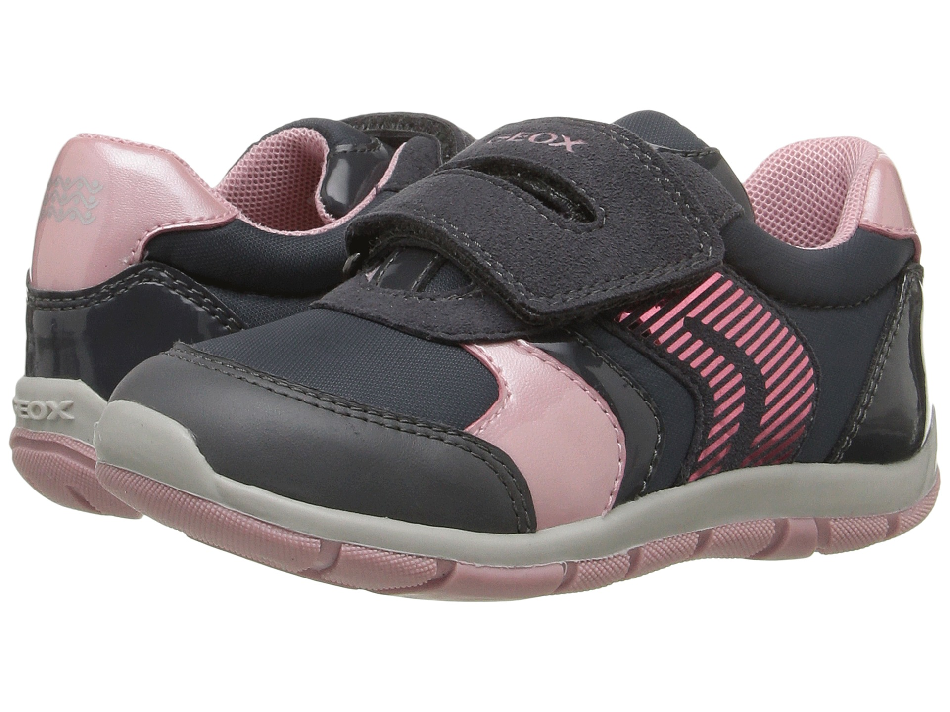 Geox Kids Baby Shaax Girl 13 Toddler Dark Grey Pink