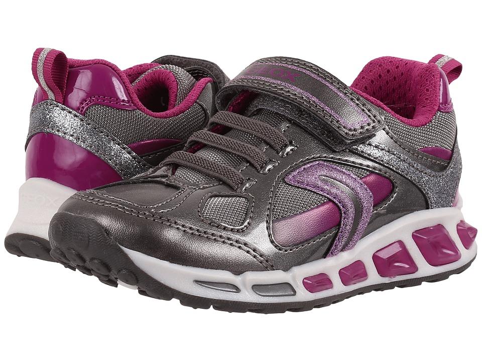 Geox Kids Jr Shuttle Girl 8 (Toddler/Little Kid) (Silver/Purple) Girl
