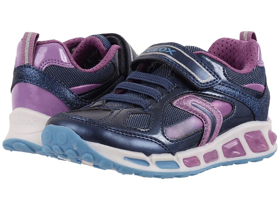 Geox Kids Jr Shuttle Girl 8 (Toddler/Little Kid) (Navy/Lilac) Girl