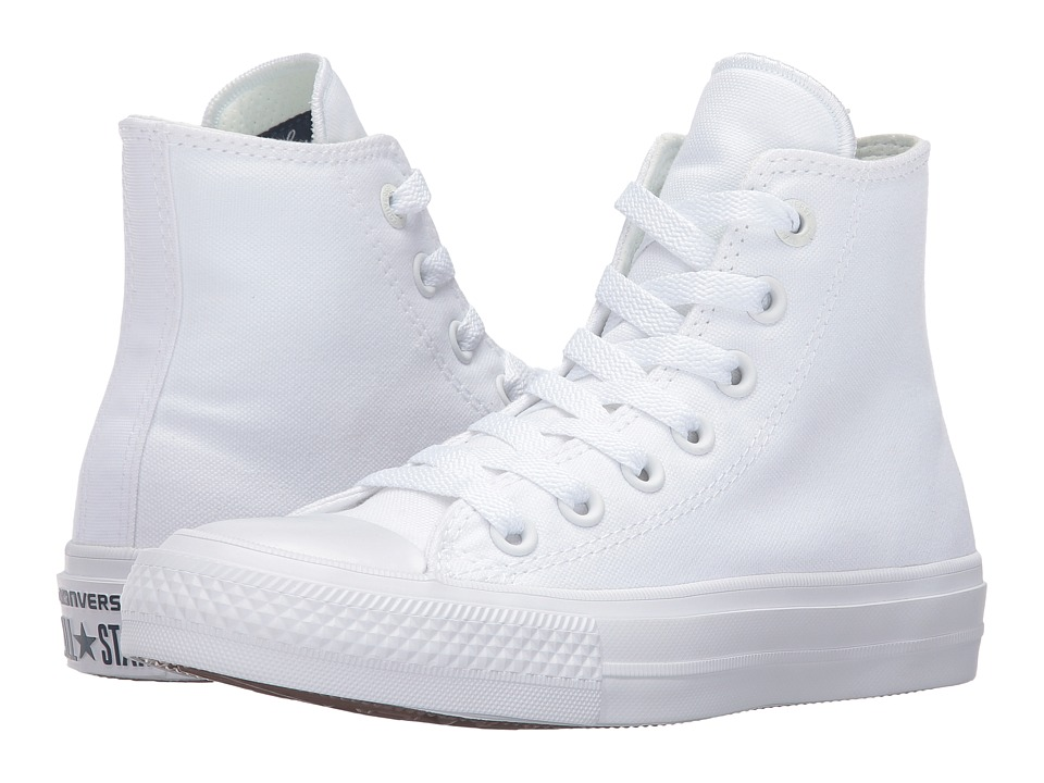 Converse Kids Chuck Taylor All Star II Hi (Big Kid) (White/White/Navy) Kid