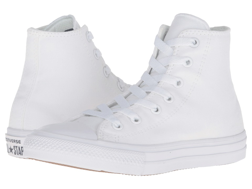 Converse Kids Chuck Taylor All Star II Hi (Little Kid) (White/White/Navy) Kid