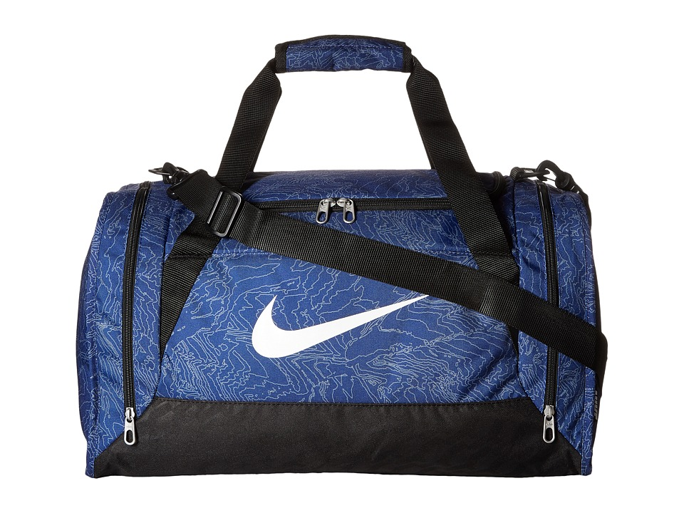 Nike - Brasilia 6 Duffel Graphic Small (Deep Royal Blue/Black/White) Duffel Bags