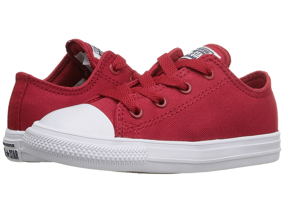 Converse Kids - Chuck Taylor All Star II Ox (Infant/Toddler) (Salsa Red/White/Navy) Kid