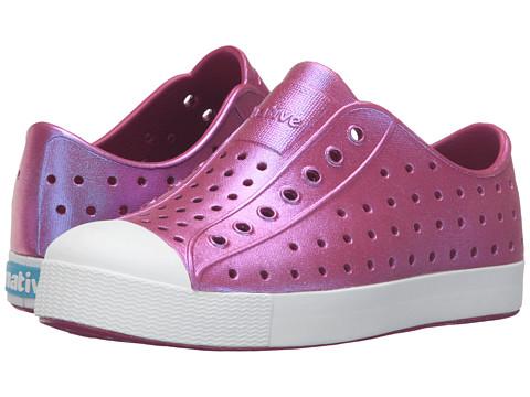 Native Kids Shoes Jefferson Iridescent (Little Kid) - Raspberry Red/Shell White/Galaxy