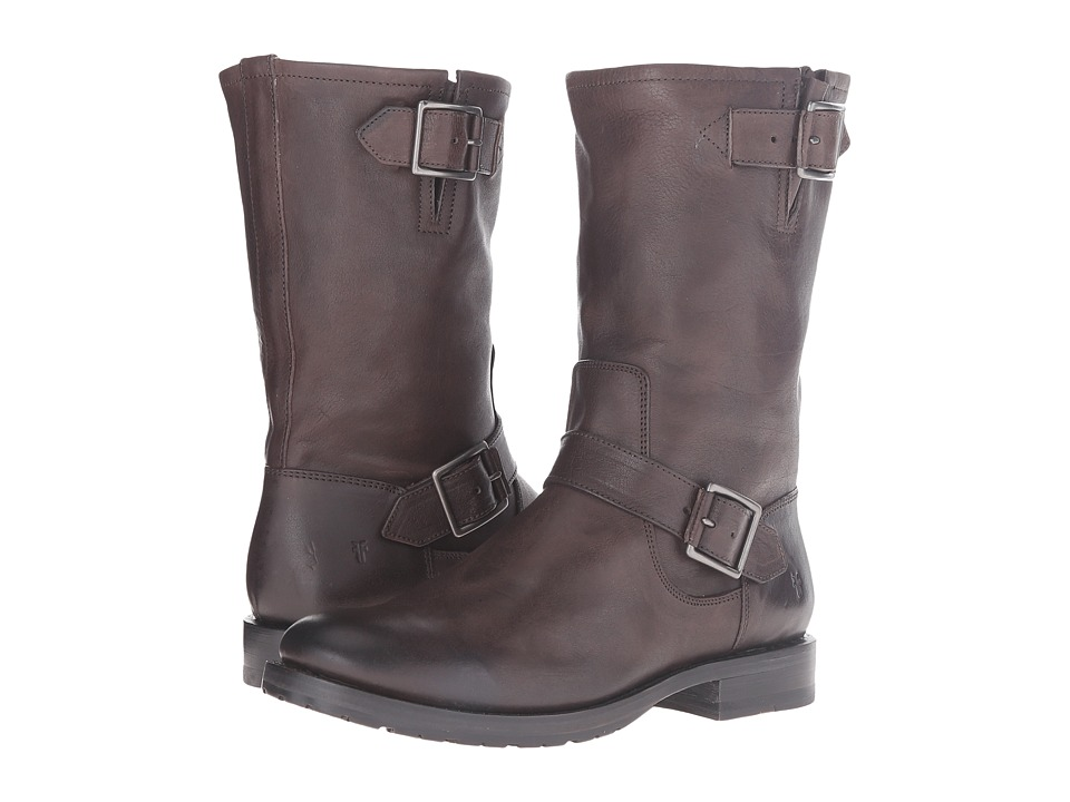 Frye Natalie Mid Engineer (Charcoal Tumbled Full Grain)