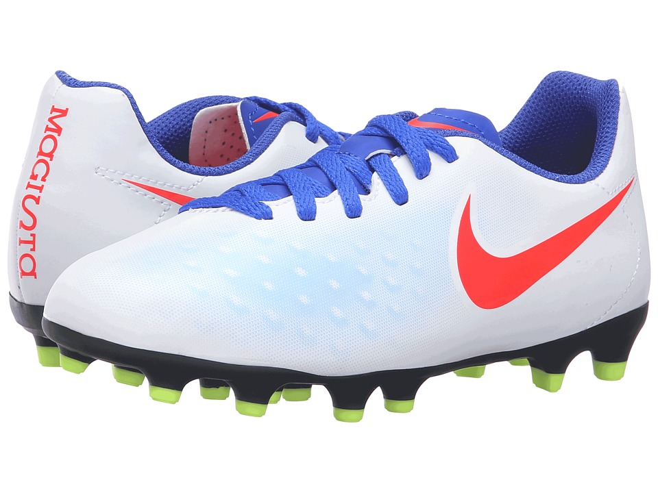Nike Kids - Jr Magista Ola II FG (Little Kid/Big Kid) (White/Racer Blue/Volt/Bright Crimson) Kids Shoes