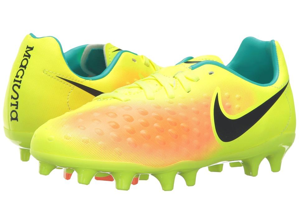 Nike Kids - Jr Magista Opus II FG Soccer (Toddler/Little Kid/Big Kid) (Volt/Total Orange/Clear Jade/Black) Kids Shoes