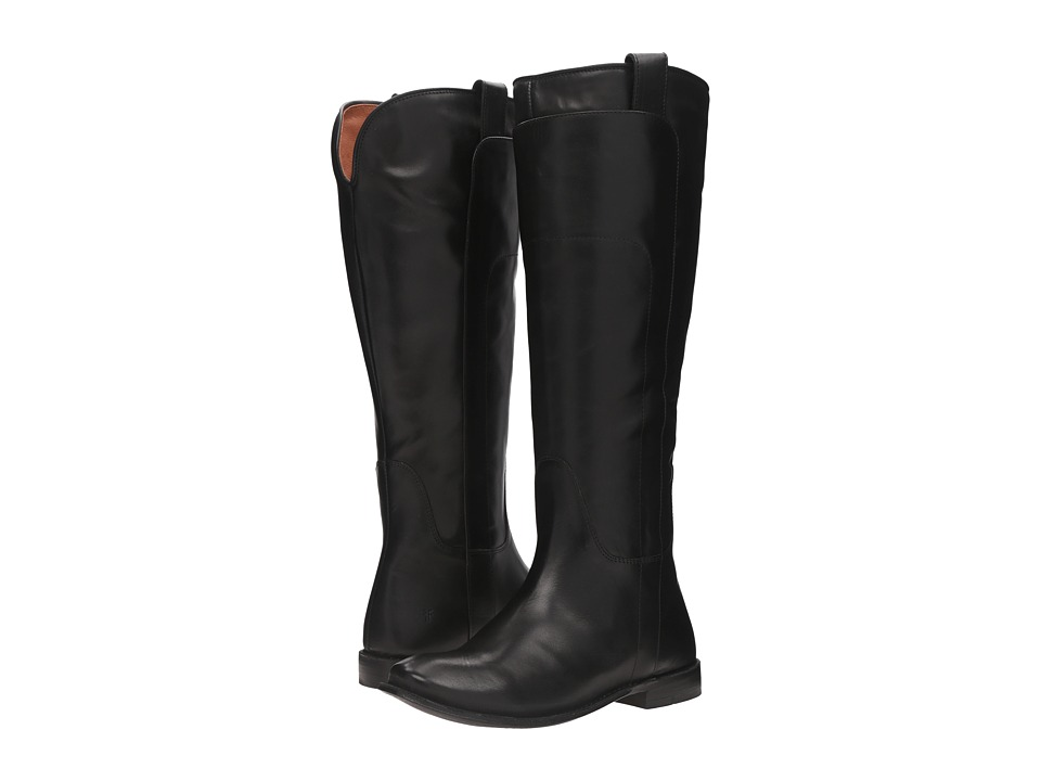Frye Paige Tall Riding (Black Smooth Polished Veg) Women's Pull-on Boots
